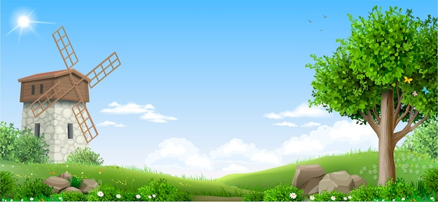 Banner de paisaje de fantasía natural.