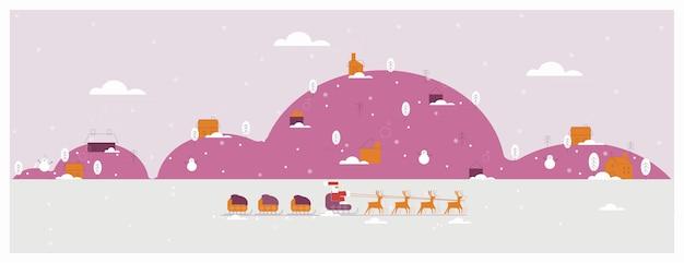 Banner de paisaje de invierno de navidad color púrpura del invierno rural con santa claus papá noel con regalos en trineo de renos a través de la nieve