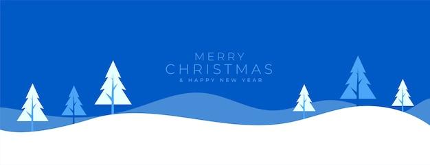 Banner de paisaje de invierno plano para feliz navidad