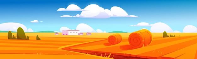 Banner con paisaje rural con fardos de heno en el campo agrícola y edificios agrícolas