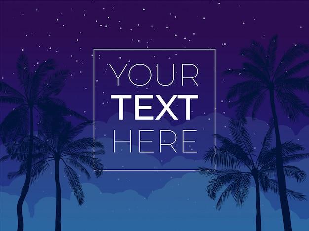 Banner con palmera y cielo nocturno y copia espacio. plantilla con lugar para el texto de póster, invitación, pancarta. ilustración.