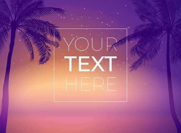 Banner con palmera y puesta de sol cielo y copia espacio. plantilla con lugar para el texto de póster, pancarta, invitación. ilustración.