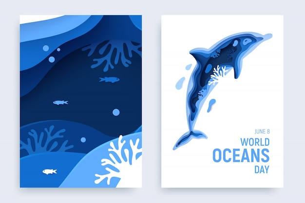 Banner de papel arte día mundial del océano con silueta de delfín. diseño de página del mundo submarino.