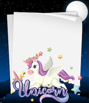 Banner de papel en blanco con lindo unicornio en el fondo del cielo nocturno