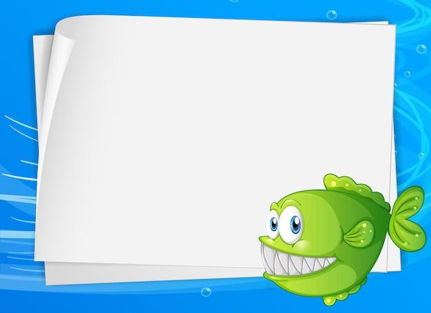 Banner de papel en blanco con peces exóticos y en el fondo submarino
