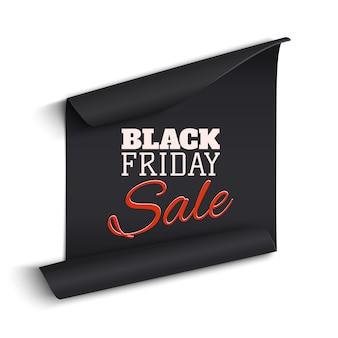 Banner de papel curvado realista negro. cinta. venta de viernes negro. ilustración.