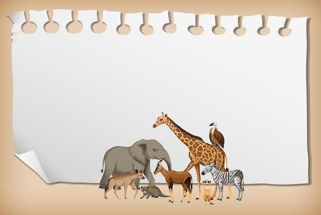 Banner de papel vacío con animal salvaje africano