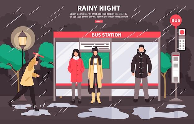 Banner de parada de autobús en tiempo lluvioso