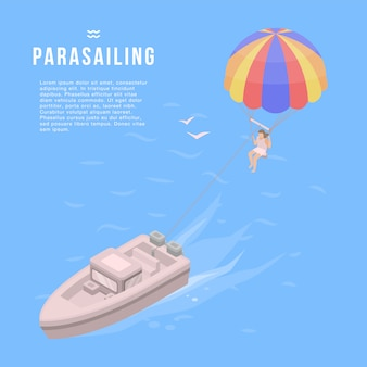 Banner de parasailing. ilustración isométrica de banner vector parasailing para diseño web