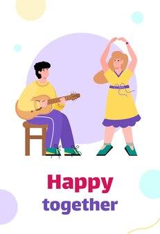 Banner con pareja creativa felices juntos y comprometidos con el arte, dibujos animados planos. plantilla de fondo de tarjeta con hombre tocando la guitarra y mujer bailando.