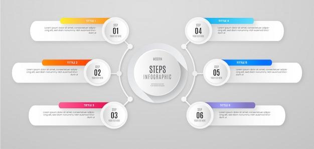 Banner de pasos de infografía limpia