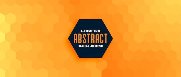 Banner de patrón hexagonal geométrico amarillo naranja