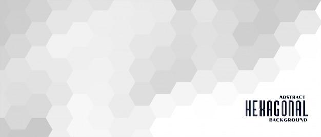 Banner de patrón hexagonal gris y blanco