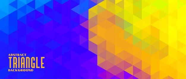 Banner de patrón de triángulo abstracto amarillo y azul