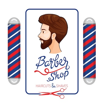Banner de peluquería, cortes de pelo y afeitados con letras