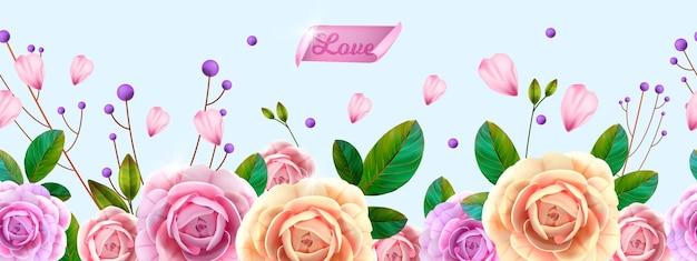 Banner con peonías, flores, hojas verdes sobre azul. banner romántico de vacaciones
