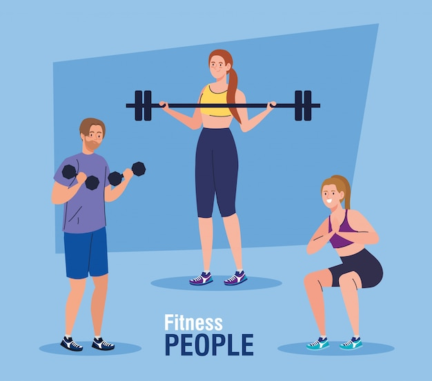 Banner de personas de fitness, personas que practican ejercicios, ejercicio de recreación deportiva