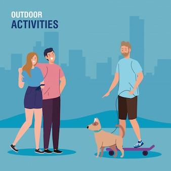 Banner, personas que realizan actividades de ocio al aire libre.