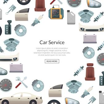 Banner de piezas de automóvil con texto