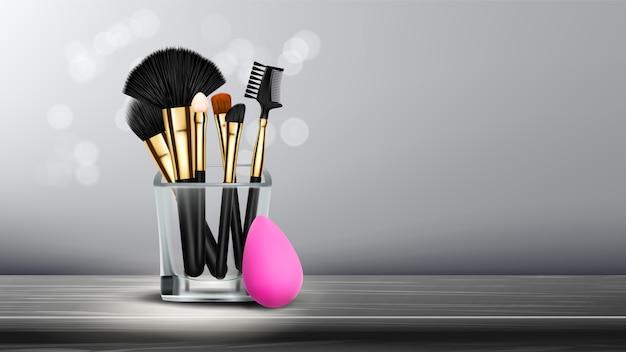 Banner de pincel de maquillaje