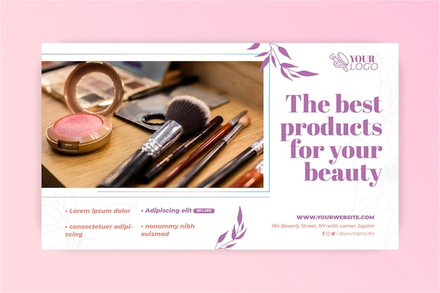 Banner de pinceles de maquillaje varios