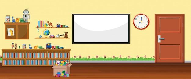 Banner de pizarra y juguetes