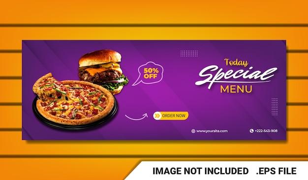 Banner pizza fan page plantilla de portada de facebook