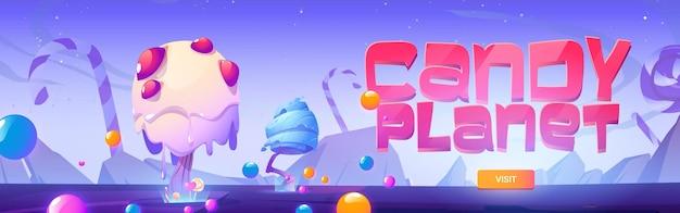 Banner de planeta de caramelo con paisaje de fantasía con árboles inusuales de bastones de caramelo de caramelo y piruleta