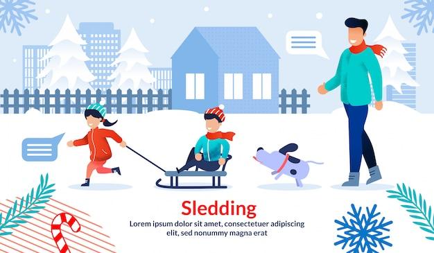 Banner plano de actividades al aire libre de invierno familiar