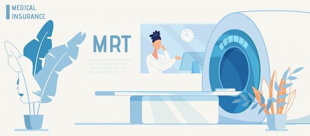 Banner plano de anuncio de seguro médico con máquina mrt