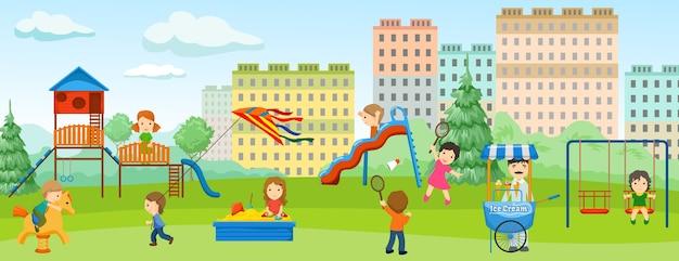 Banner plano de color para juegos infantiles con lugar de entretenimiento para niños y lugar verde alrededor