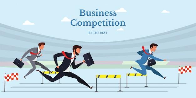 Banner plano de competencia empresarial aislado en azul