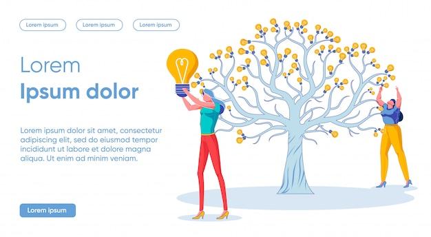 Banner plano cosecha concepto de idea exitosa. el árbol grande crece en el centro, en cambio las frutas, los bulbos luminosos crecen en él.