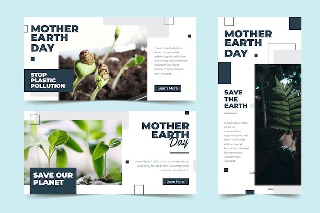 Banner plano del día de la madre tierra