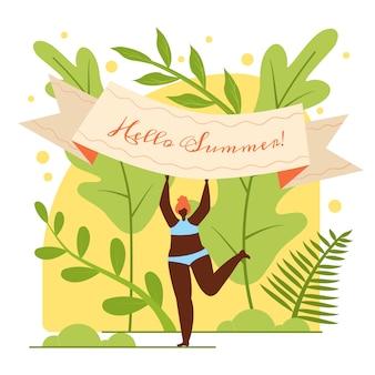 Banner plano está escrito hola verano, dibujos animados.