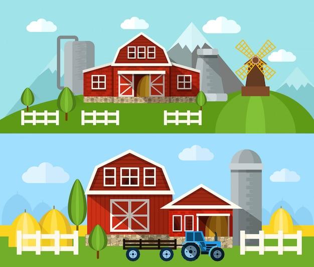 Banner plano de granja
