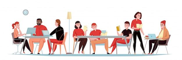 Banner plano horizontal de biblioteca con visitantes sentados en la sala de lectura con libros, revistas, portátiles, tabletas, ilustración vectorial