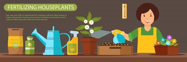 Banner plano horizontal de fertilización de plantas de interior.