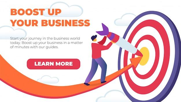 Banner plano horizontal impulsar su negocio.