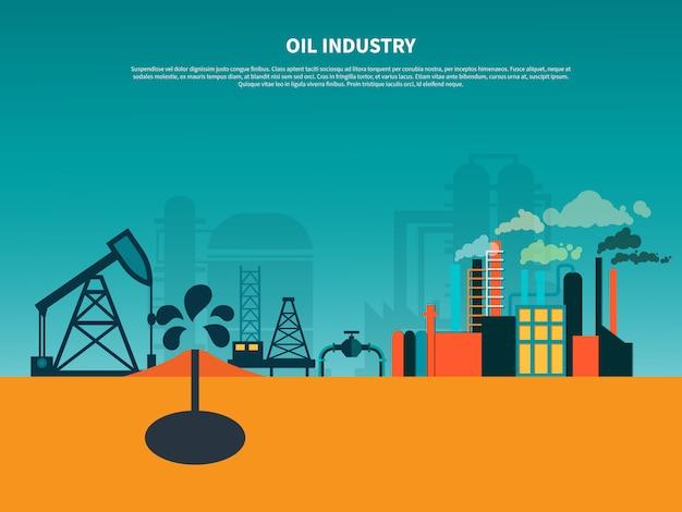 Banner plano de la industria petrolera