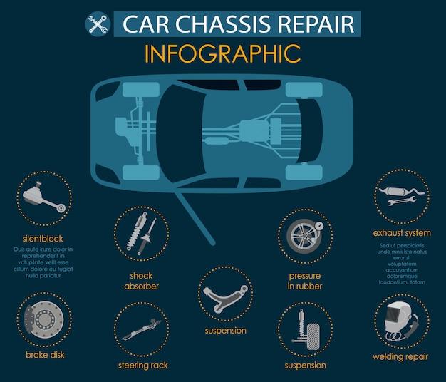 Banner plano de infografía grande de chasis del coche de reparación.