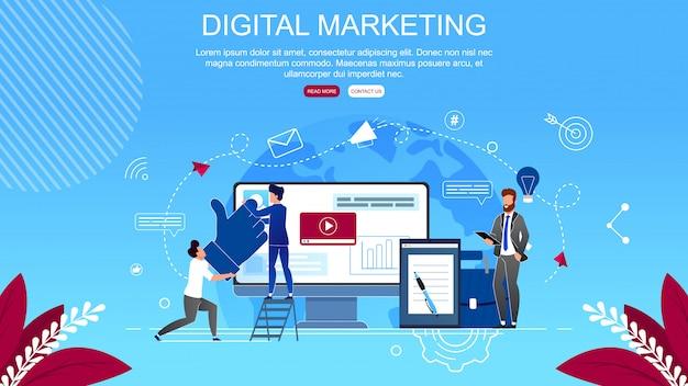Banner plano inscripción digital marketing de dibujos animados.