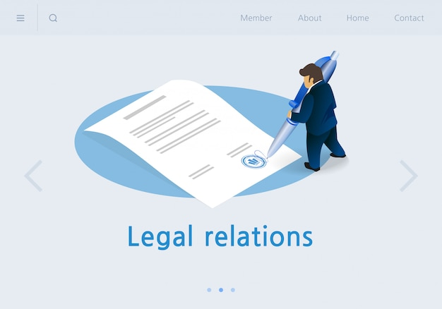 Banner plano inscripción relaciones legales isométricas.