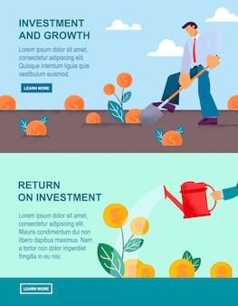 Banner plano de inversión y retorno de crecimiento.