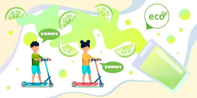 Banner plano de jugo de limón orgánico para niños