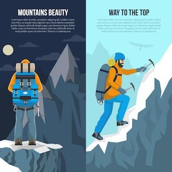Banner plano de montañismo