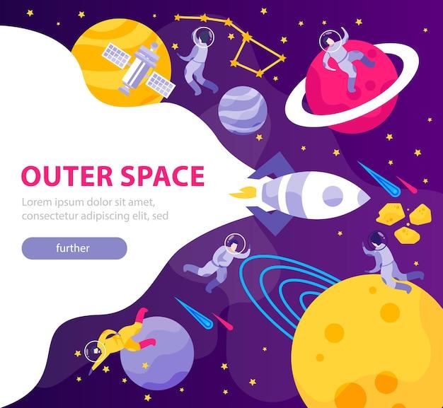 Banner plano de personas del espacio de astronomía