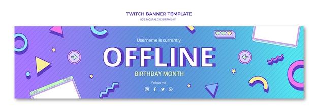 Banner plano de twitch de cumpleaños nostálgico de los 90