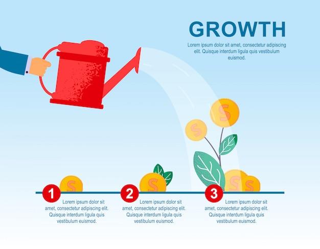 Banner plano vector crecimiento rojo grande planta de riego.