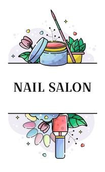 Banner plano vector para salón de uñas
